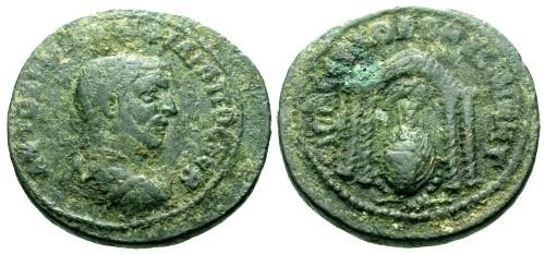 Ancient Coins - gF+/gF+ Philip I Mesopotamia Nisibis AE25 / Temple of City Goddess