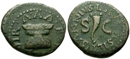 Ancient Coins - aVF/aVF Augustus AE Quadrans / Altar and Cornucopia