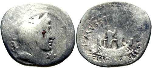 Ancient Coins - F 42BC / Mussidia 6 Denarius