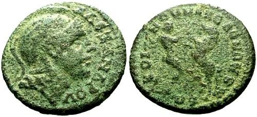 Ancient Coins - gF+/gF+ Time of Severus Alexander Macedonian Koinon AE27 / Herakles and Bucephalas