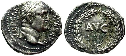 Ancient Coins - EF/EF Vespasian AR denarius Ephesus Mint / AVG
