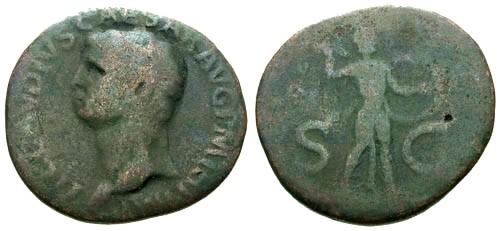 Ancient Coins - F/VG Claudius AE AS / Minerva