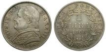 World Coins - Papal States. Pius IX 1868R XIII AR One Lira