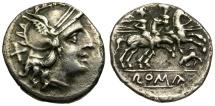 Ancient Coins - 206-195 BC - Roman Republic. Anonymous AR Denarius / Bull