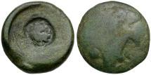 Ancient Coins - Sicily. Akragas Æ Tetras  / Head of Herakles Countermark