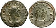 Ancient Coins - Aurelian Silvered Æ Antoninianus / Woman Crowning Emperor