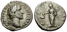 Ancient Coins - Antoninus Pius AR Denarius / Vesta