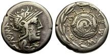 Ancient Coins - 127 BC - Roman Republic. M. Caecilius Qf. Q. N. Metellus AR Denarius / Macedonian Shield in Wreath