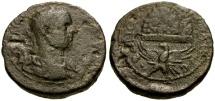 Ancient Coins - Trebonianus Gallus, Judaea, Samaria Neapolis Æ24 / Eagle Supporting Mt. Gerizim