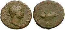 Ancient Coins - Hadrian Æ AS / Galley