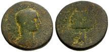 Ancient Coins - gF+/gF Trebonianus Gallus, Samaria Neapolis Æ26 / Eagle and Mt. Gerazim