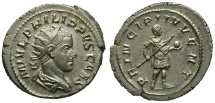 Ancient Coins - Philip II as Caesar AR Antoninianus / Philip in Military Dress