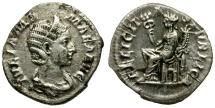 Ancient Coins - Julia Mamaea. Mother of Severus Alexander AR Denarius / Felicitas seated