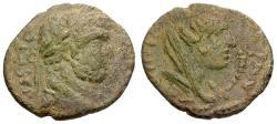 Ancient Coins - aVF/aVF Caracalla, Mesopotamia Carrhae Æ18 / Tyche