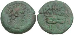 Ancient Coins - Claudius (AD 41-54). Egypt. Alexandria Æ Obol / Hand Holding Poppies and Grain Ears