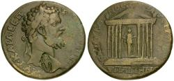 Ancient Coins - Septimius Severus. Lydia. Hypaepa Æ32 / Statue of Artemis in Temple with matching Artemis countermark