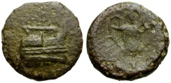 Ancient Coins - Island off Epirus. Corcyra Æ16 / Kantharos