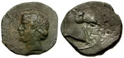 Ancient Coins - Zeugitania. Carthage. Sardinia mint Æ23 / Apolloesque Tanit