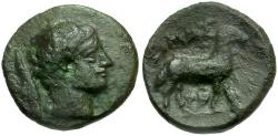 Ancient Coins - Arkadia. Pheneos Æ15 / Hermes and Ram