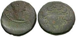 Ancient Coins - Augustus (27 BC-AD 14). Asia Minor. Uncertain Mint Æ25 / AVGVSTVS in Wreath