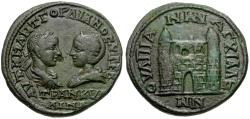 Ancient Coins - Gordian III (AD 238-244) with Tranquillina. Thrace. Anchialus Æ26 / City Gate