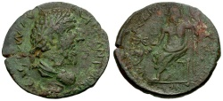 Ancient Coins - Marcus Aurelius. Cilicia. Ninica Claudiopolis Æ28 / Zeus Seated