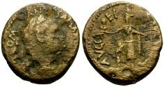 Ancient Coins - Domitian as Caesar, Judaea, Samaria Caesarea Maritima Æ21 / Tyche