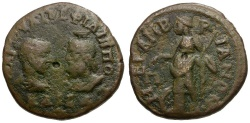 Ancient Coins - Philip II and Serapis. Thrace. Mesembria Æ26 / Tyche