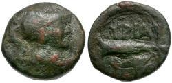Ancient Coins - Apulia. Hyrium Æ13 / Rudder and Dolphin