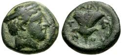 Ancient Coins - Macedon. Tragilos Æ15 / Hermes & Rose