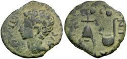Ancient Coins - Augustus. Spain. Julia Traducta Æ Semis / Apex and simpulum