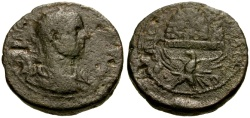 Ancient Coins - Trebonianus Gallus, Judaea, Samaria Neapolis Æ24 / Eagle Supporting Mt. Gerizim