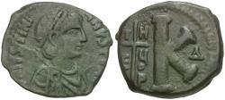 Ancient Coins - *Sear 226* Byzantine Empire. Justinian I (AD 527-562) Æ Half Follis