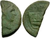 Ancient Coins - Roman Republic. Sextus Pompey Æ AS Cut in Half for Change