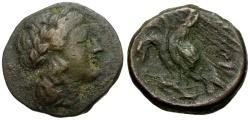 Ancient Coins - Sicily, Akragas, Phintias Æ19 / Apollo / Two Eagles
