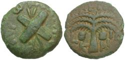 Ancient Coins - Judaea. Roman Procurators. Antonius Felix (AD 52-59) Æ Prutah / Crossed Shields and Spears