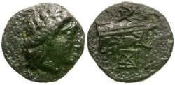 Ancient Coins - Caria. Knidos Æ11 / Prow and X