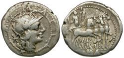 Ancient Coins - 130 BC - Roman Republic. M. Acilius M. f. AR Denarius / Hercules in Quadriga
