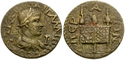 Ancient Coins - Gallienus. Pamphylia. Perga Æ29 / Three Purses on Chest