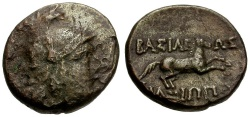 Ancient Coins - Kings of Macedon.  Philip V  Æ17 / Perseus / Horse