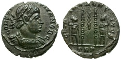 Ancient Coins - Constantine II as Caesar Æ Follis / Two soldiers and standards