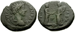 Ancient Coins - Commodus, Judaea Gaza Æ24 / Io and Tyche