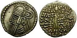 Ancient Coins - VF/VF Kings of Parthia, Vologases Iv AR Drachm / King as Archer
