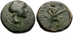 Ancient Coins - Thessaly. Magnetes Æ Dichalkon / Artemis