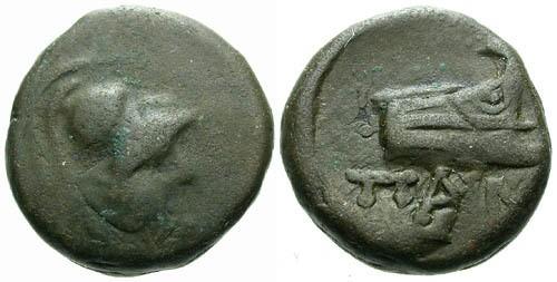 Ancient Coins - gF/gF Pantikapaion AE14 / Athena and prow