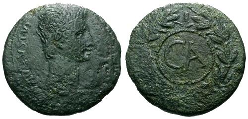 Ancient Coins - aVF/aVF Augustus Cyprus Paphos AE Sestertius / Wreath