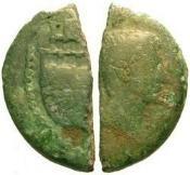 Ancient Coins - F/F Vienna Gaul Cut Dupondius / Octavian and Julius Caesar