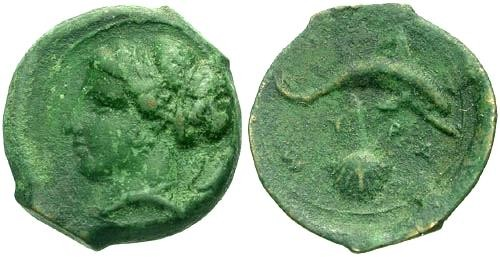 Ancient Coins - VF/VF Sicily Syracuse AE Hemilitron / Dolphin and Cockle Shell