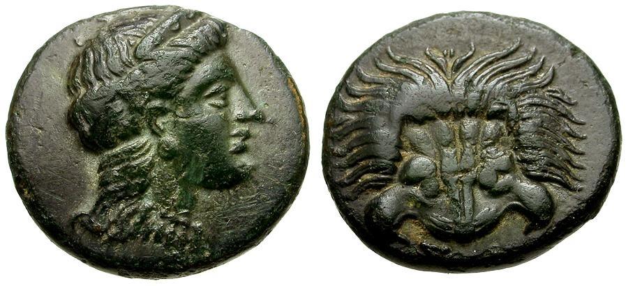 Ancient Coins - Ionia. Samos Æ14 / Lion's Scalp