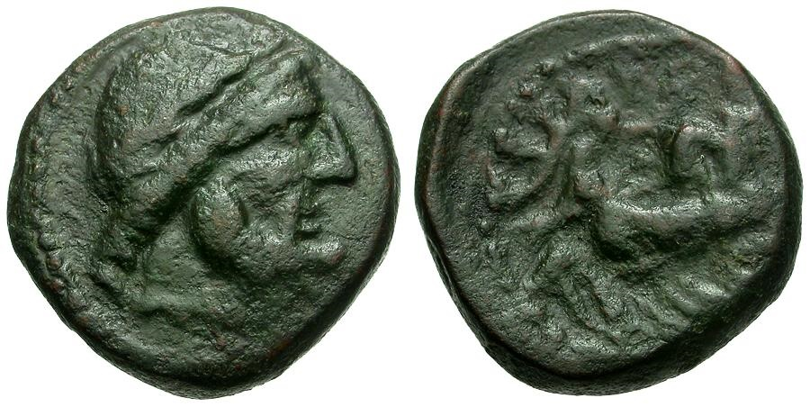 Ancient Coins - Sicily.  Syracuse under Roman Rule Æ19 / Zeus / Nike in Biga